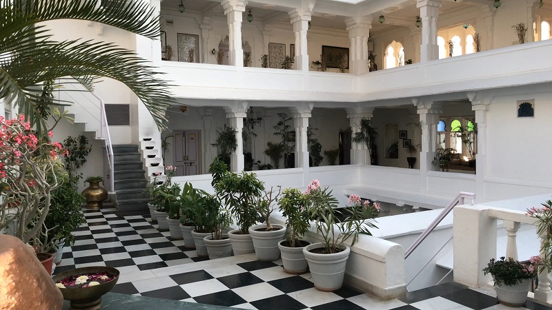 Jagat Niwas Palace Udaipur Haveli lake view Pichola interior of courtyard and stairs