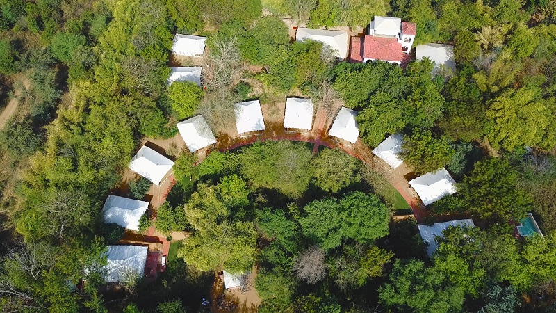 Ranthambhore Hotel Sherbagh tented camp spectacular drone view of entire camp