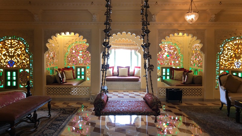 Taj Lake Palace Hotel Udaipur best luxury Rajasthan photo of Royal Suite with stained windows