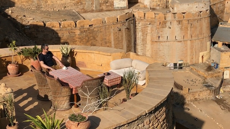 Hotel Killa Bhawan Jaisalmer Fort photo of Allan Blanchard relaxing on beautiful fortified tower terrace