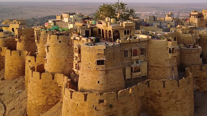 Hotel Garh Jaisal Jaisalmer Fort stunning drone photo of property and entire fort