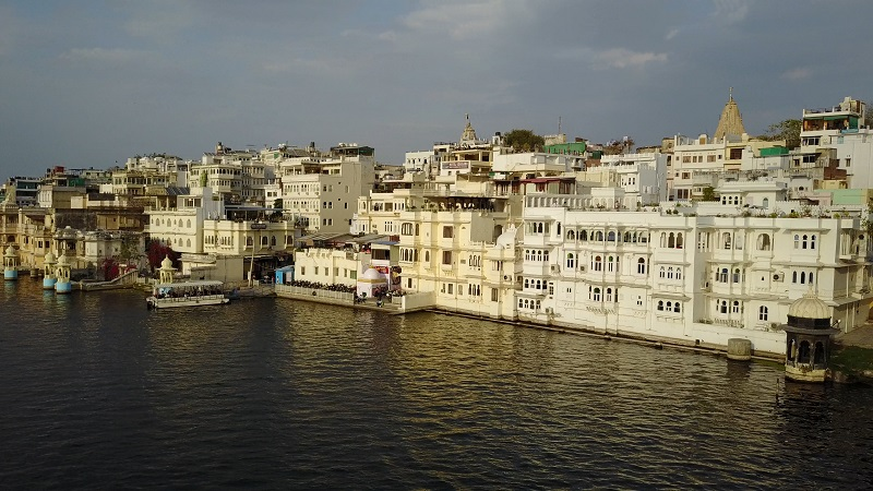 Jagat Niwas Palace Udaipur Haveli lake view Pichola drone photo of entire hotel and lake pichola