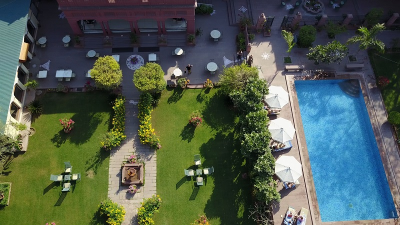 Ratan Vilas Jodhpur Rajasthan hotel drone photo of swimming pool and ornate garden