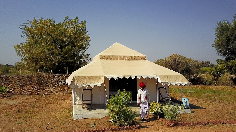 Godwad Leopard safari camp Bera Rajasthan photo of outside of tent