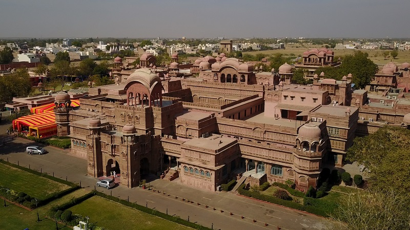 Laxmi Niwas Palace Bikaner luxury heritage incredible hotel drone photo of entire hotel