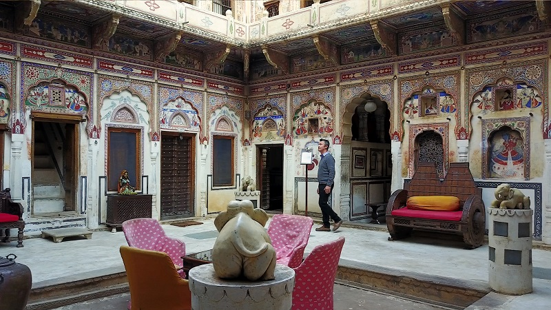 Mandawa Haveli Shekhawati region Rajasthan photo of beautiful inner courtyard with frescos and paintings